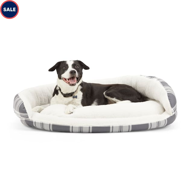 """EveryYay Essentials Snooze Fest Black Plaid Round Nester Dog Bed, 40"""" L X 30"""" W X 8"""" H - Carousel image #1"""