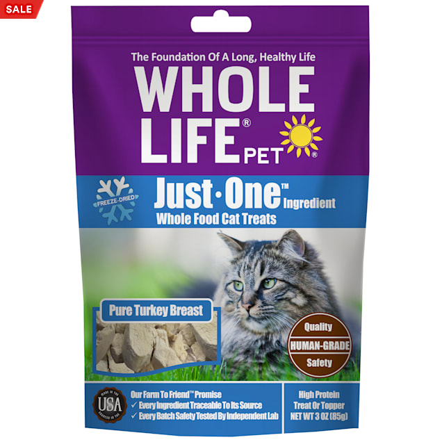 Whole Life Pet Just One Single Ingredient USA Freeze Dried Turkey Treats for Cats, 3 oz. - Carousel image #1