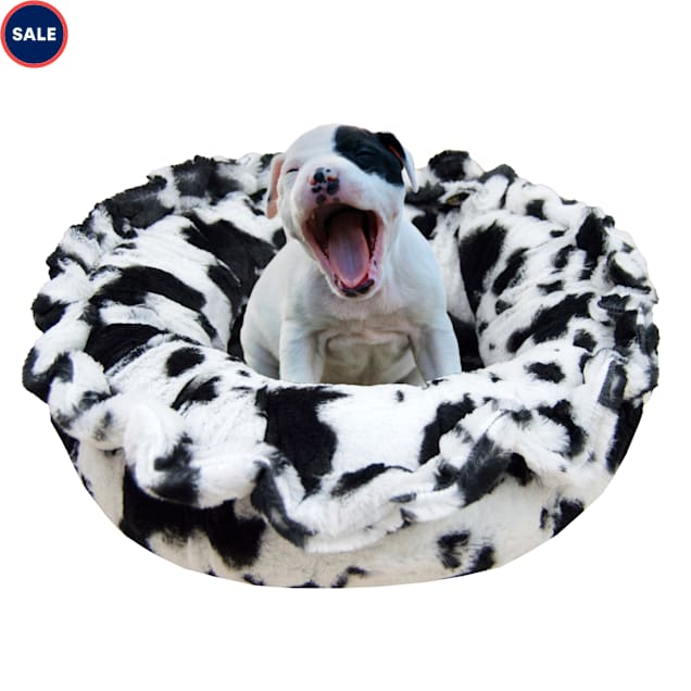 """Bessie and Barnie Ultra Plush Black Puma/Spotted Pony Deluxe Shag Pet Lily Pod Bed, 24"""" L X 24"""" W X 4"""" H - Carousel image #1"""