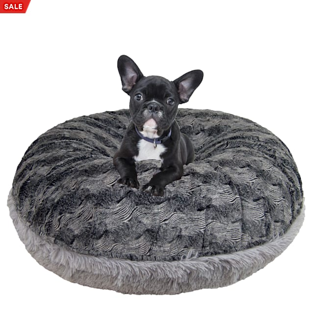 """Bessie and Barnie Signature Siberian Grey/Arctic Seal Luxury Extra Plush Faux Fur Bagel Pet Bed, 24"""" L X 24"""" W X 10"""" H - Carousel image #1"""