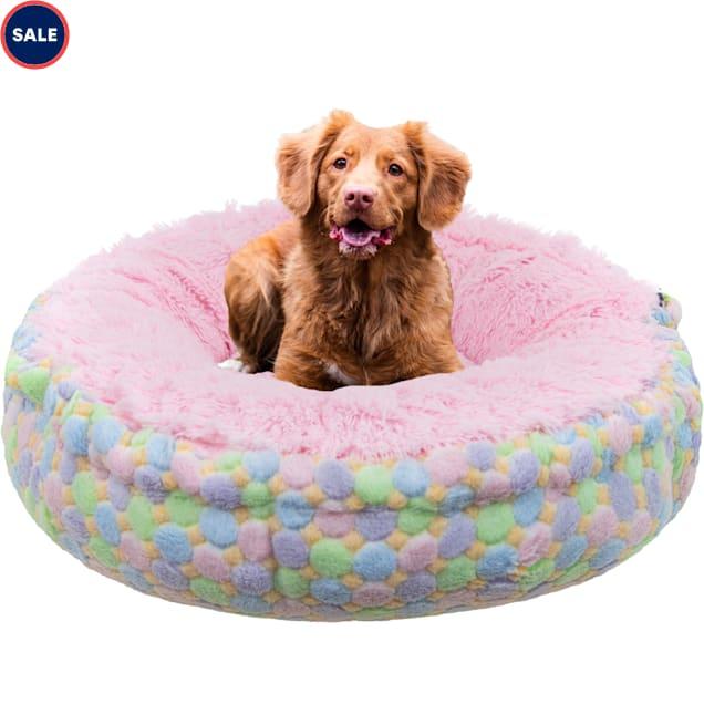 "Bessie and Barnie Blue Bubble Gum/Ice Cream Luxury Shag Ultra Plush Faux Fur Pet Bagelette Bed, 36"" L X 36"" W X 6"" H - Carousel image #1"