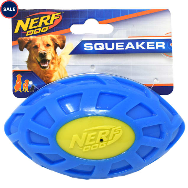 Nerf Blue/Green TPR EXO Squeak Football Dog Toy, Small - Carousel image #1