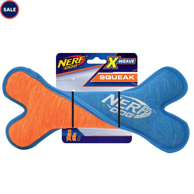 Nerf Blue/Orange X-Weave Squeak Twist Bone Dog Toy, Medium - Carousel image #1