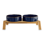 Reddy Indigo Ceramic & Wood Elevated Double Diner for Dogs, 3.8 Cup