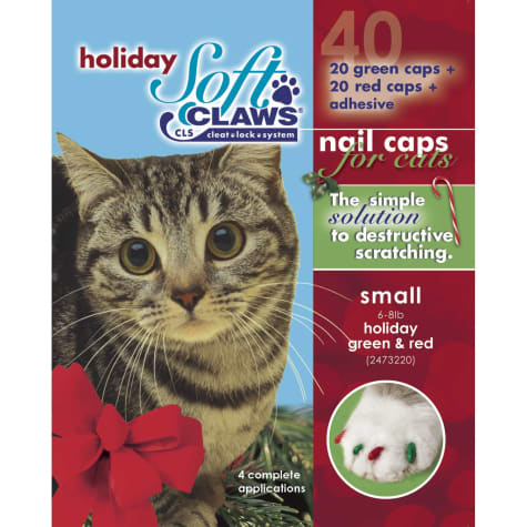 Soft Claws Seasonal Holiday Red & Green Cat Nail Caps