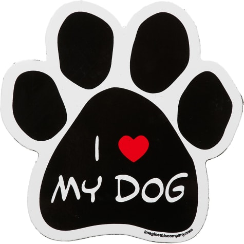 Imagine This I Love My Dog Paw Shaped Car Magnet