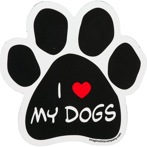 Imagine This I Love My Dogs Paw Shaped Car Magnet