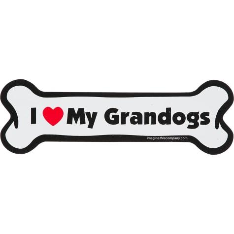 Imagine This I love My Grandogs Bone Shaped Car Magnet