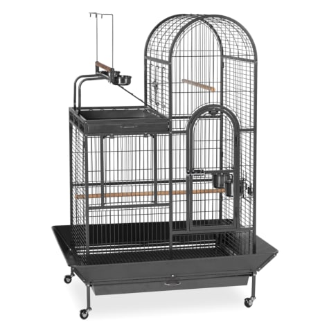 Prevue Pet Products Signature Series Deluxe Parrot Cage with Playtop Area Wrought Iron Bird Cage in Black