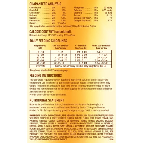 Nature S Recipe Grain Free Salmon Sweet Potato Pumpkin Dry Dog Food Petco