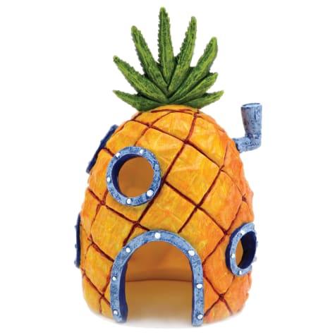 Penn Plax SpongeBob Squarepants Pineapple House with Swim Holes Aquatic Ornament, Small