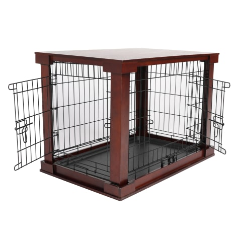 Merry Products Cage with Crate Cover Mahogany