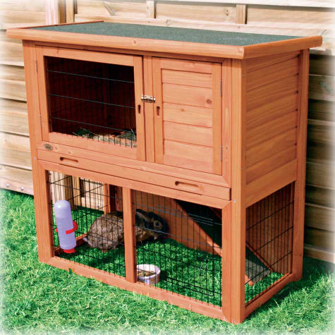 Trixie Natura Animal Hutch with Enclosure in Brown