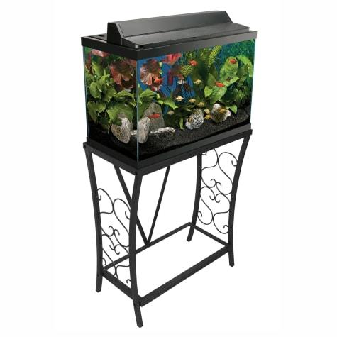 Aquatic Fundamentals Black Scroll Aquarium Stand, 20 Gallons