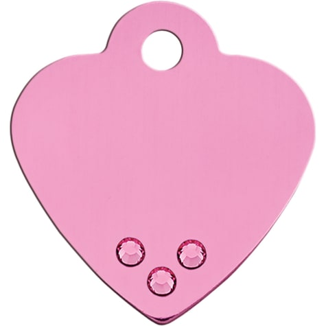 Quick-Tag Small Crystal Pink Heart Personalized Engraved Pet ID Tag, Small