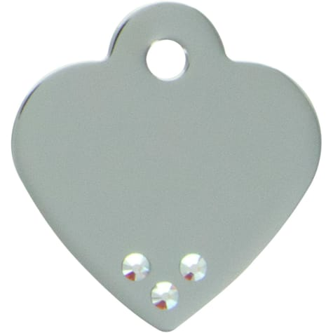 Quick-Tag Aurora Crystal Small Chrome Heart Personalized Engraved Pet ID Tag
