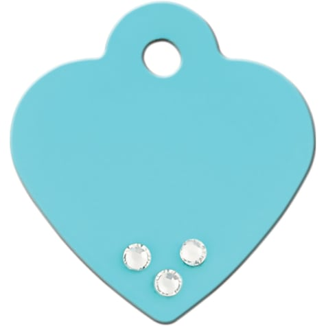 Quick-Tag Small Crystal Turquoise Heart Personalized Engraved Pet ID Tag, Small