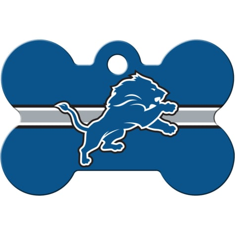 Quick-Tag Detroit Lions NFL Bone Personalized Engraved Pet ID Tag, Large