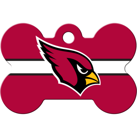 Quick-Tag Arizona Cardinals NFL Bone Personalized Engraved Pet ID Tag, Large