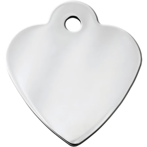 Quick-Tag Chrome Heart Personalized Engraved Pet ID Tag, Small