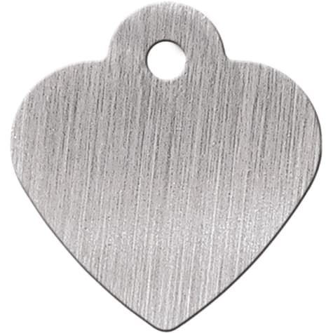 Quick-Tag Brushed Chrome Heart Personalized Engraved Pet ID Tag, Small