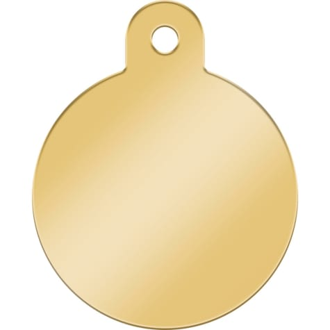Quick-Tag Gold Circle Personalized Engraved Pet ID Tag, Large