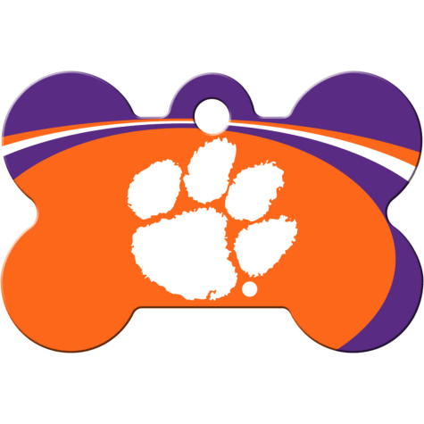 Quick-Tag Clemson Tigers NCAA Bone Personalized Engraved Pet ID Tag, Large