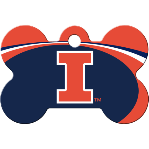 Quick-Tag Illinois Fighting Illini NCAA Bone Personalized Engraved Pet ID Tag, Large