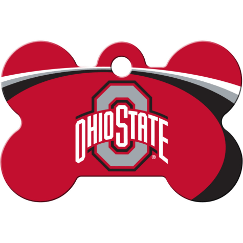 Quick-Tag Ohio State NCAA Bone Personalized Engraved Pet ID Tag, Large