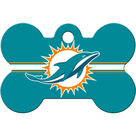Quick-Tag Miami Dolphins NFL Bone Personalized Engraved Pet ID Tag, Large