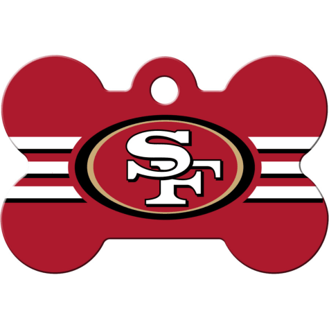 Quick-Tag San Francisco 49ers NFL Bone Personalized Engraved Pet ID Tag, Large