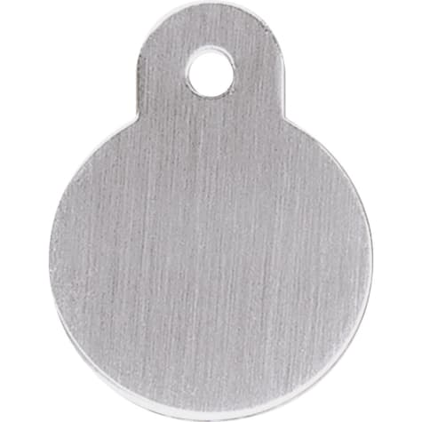 Quick-Tag Brushed Chrome Circle Personalized Engraved Pet ID Tag, Small