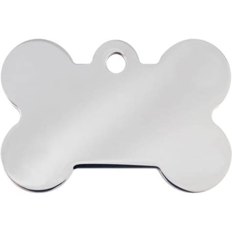 Quick-Tag Chrome Bone Personalized Engraved Pet ID Tag, Large
