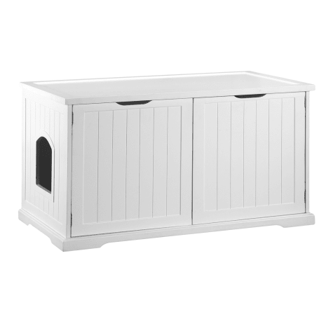 Zoovilla Large White Cat Washroom Bench Litter Box Cover