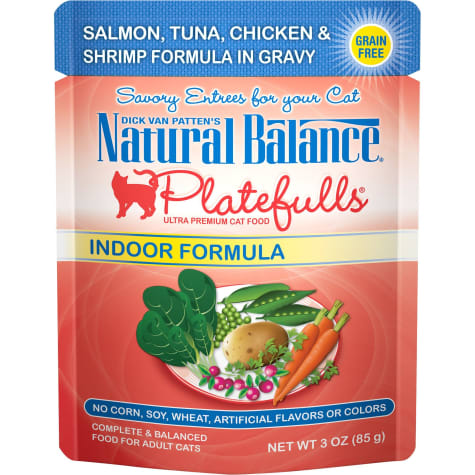 Natural Balance Platefulls Salmon, Tuna, Chicken & Shrimp Formula in Gravy Indoor Adult Wet Cat Food