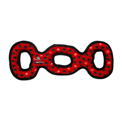 Tuffy's Red Paw Print Ultimate 3 Way Tug Dog Toy
