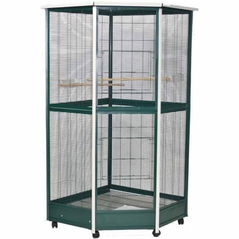 A&E Cage Company Green & White Corner Aviary Bird Cage