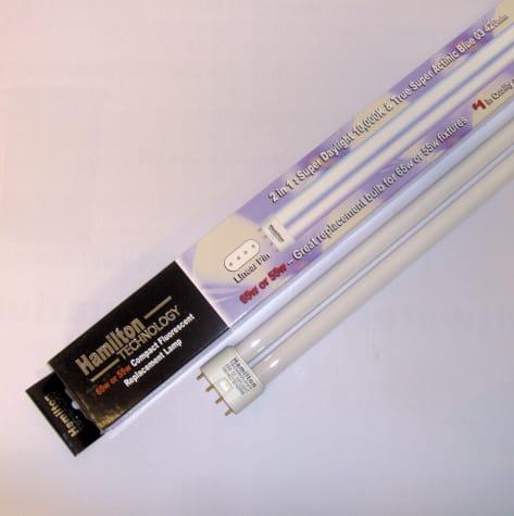 Hamilton Technology Compact 2-in-1 Actinic & Daylight 420nm Blue/10K White Linear Pin Aquarium Lamp, 55/65 Watts