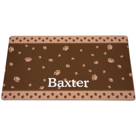 Drymate Brown & Tan Paw Border Personalized Cat Litter Box Mat