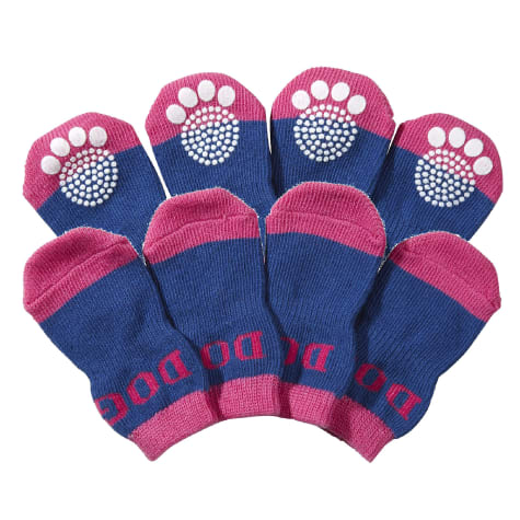 Pet Life Purple & Blue Socks with Rubberized Soles for Dogs