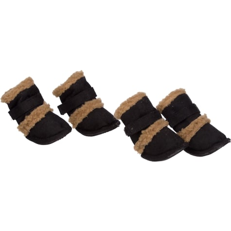 Pet Life Black Shearling Paw Wear for Dogs