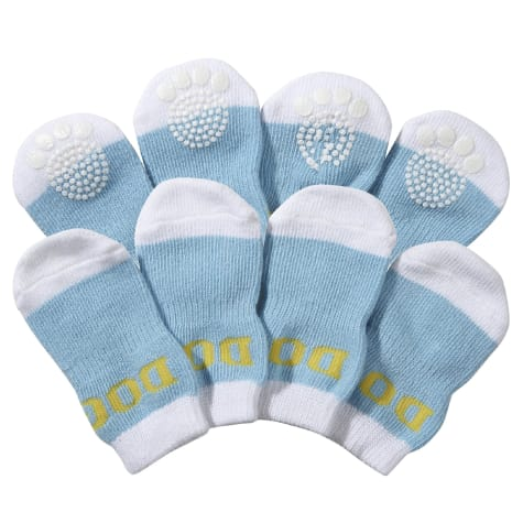 Pet Life White & Blue Socks with Rubberized Soles for Dogs
