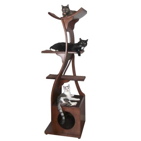 The Refined Feline Lotus Tower Cat Tree in Mahogany