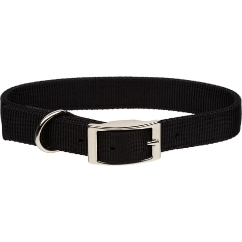 Coastal Pet Metal Buckle Double Ply Nylon Personalized Dog Collar in Black