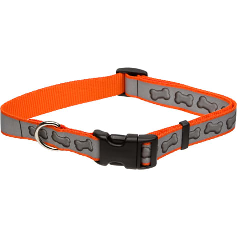Coastal Pet Lazer Brite Personalized Reflective Dog Collar in Orange with Bones