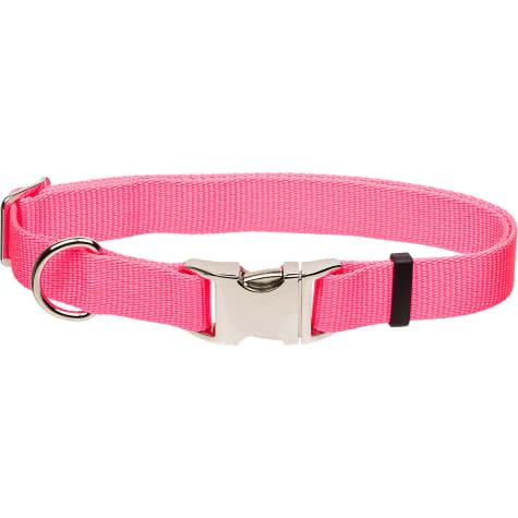Coastal Pet Metal Buckle Nylon Adjustable Personalized Dog Collar in Neon Pink
