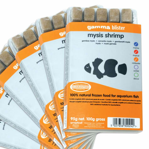 Gamma Frozen Food Mysis Shrimp Blister Pack Fish Food