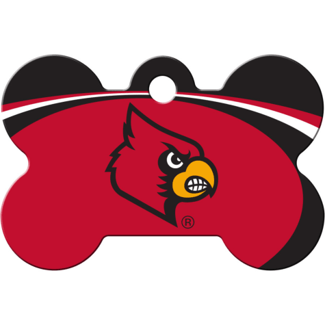 Quick-Tag Louisville Cardinals NCAA Bone Personalized Engraved Pet ID Tag, Large