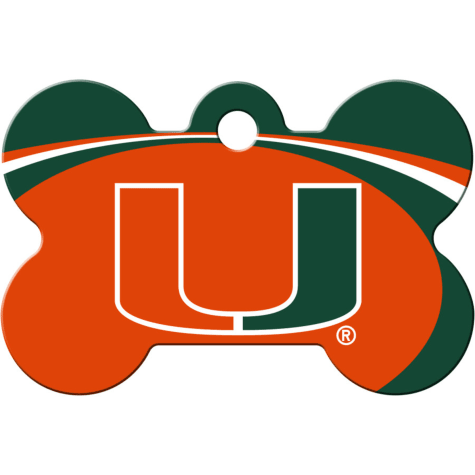 Quick-Tag Miami Hurricanes NCAA Bone Personalized Engraved Pet ID Tag, Large