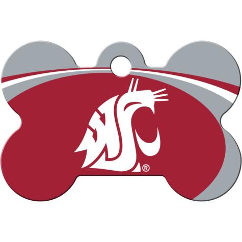 Quick-Tag Washington State NCAA Bone Personalized Engraved Pet ID Tag, Large